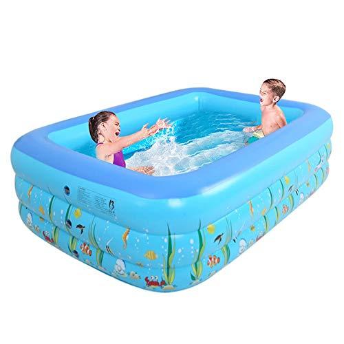 lembrd Aufblasbarer Pool Planschbecken für Kinder,130 X 90 X 55cm Rechteckiges Schwimmbecken für Kleinkinder, Kinder, Familie, Übererdig, Garten, Outdoor