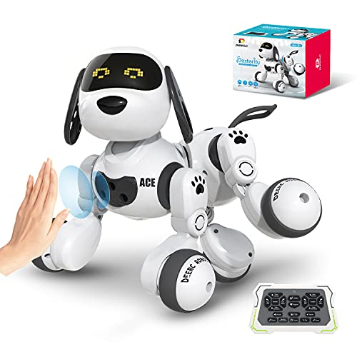 DEERC Remote Control Dog Robot Toys for Kids Programmable Smart RC Robot with Gesture Sensing,Robotic Kit with LED Eyes,Walking,Talking,Singing,Dancing,Interactive Gift for Boys and Girls