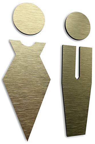 Bagno adesivi per porte - wc targhette citofono - toilette adesivo per porta - adesivo porta bagno - Aluminium 14 cm x 5.1 cm - uomo donna - Unisex -