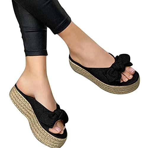 Ghemdilmn Slip On - Sandalias para mujer, con cuña, plataforma, para verano, transpirables, con puntera abierta, suela gruesa, zapatos de viaje, informales, color Negro, talla 40 EU