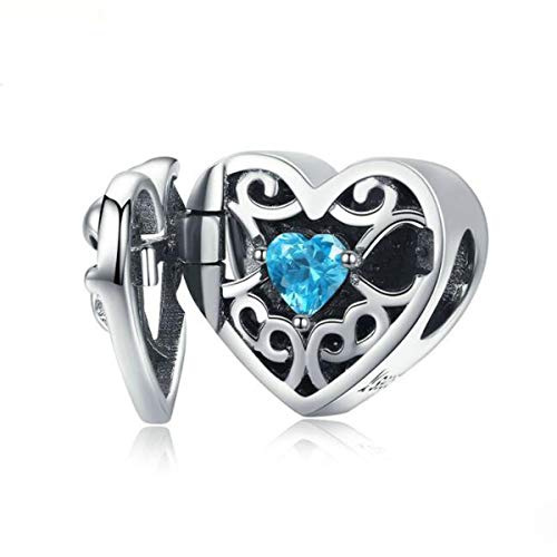 Love Heart Charm Beads 925 Sterling Silver Family Charm I Love You Mom Charm of Mother's Day Bead for Bracelets (You are always in my)