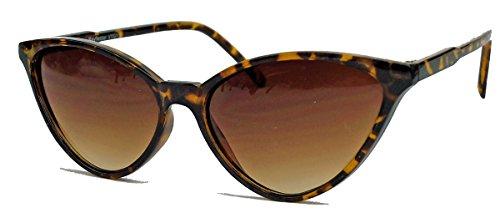 kleinere filigrane Damen Brille im 50er 60er Jahre Cat Eye Stil Sonnenbrille oder Nerdbrille C78 (Hornbrille/Braun)