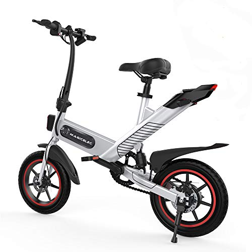 Folding Electric Bicycle, Electric Bike 350W Motor, 14-inch Tires Mountain Bike,3-Working Modes Adjustment,Central Shock Absorber,Outdoor Cycling Travel Commuting E-bike