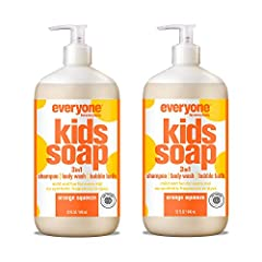 Contains (2) 32 ounce bottles of Everyone Kids soap, Orange Squeeze Lavender and orange essential oils are blended together to make bath time a calming experience. Cleansers are derived from coconut oil to create rich bubbles for an extra foamy lathe...