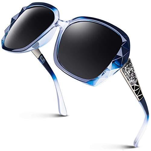 GQUEEN Gafas de Sol Polarizadas Extragrandes para Mujer – Moda para Exteriores GAFAS UV400 MOE6