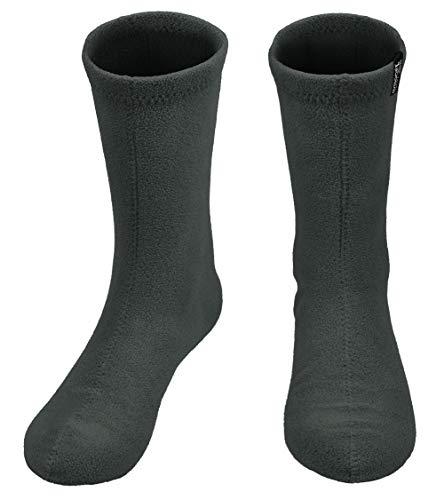 Men's Hiking Fleece Warm Boot Socks Comfortable Military Liner, Gray, Large