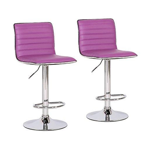 Barhocker 2er Set Tresen-Stuhl verchromter Stahl Kunstleder gepolstert höhenverstellbar Farbwahl (lila)