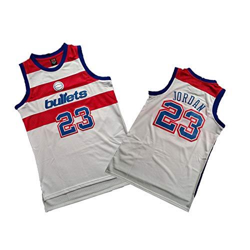 XDSD # 23 Jersey para hombre retro Jordania, camiseta de baloncesto de verano, malla transpirable, sin mangas, para deporte, chaleco bordado, tallas S-XXL, color blanco y M