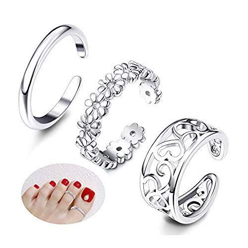 Milacolato 3Pe Toe Anings Mujeres Ajustable Open Toe Ring Regalos Conjuntos de joyería