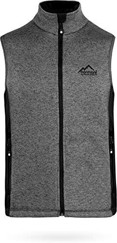 normani Outdoor Sports Herren Fleeceweste mit Reißverschlusstaschen Bodywarmer Farbe Strick Grau Meliert Größe 4XL