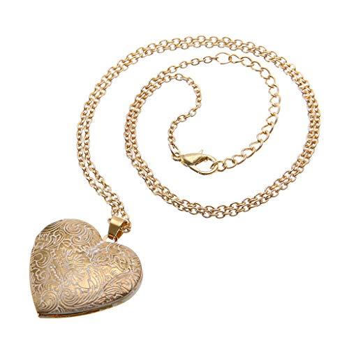 Ciondoli a forma di cuore retrò collana medaglione scatola per foto pendenti per ciondolo donna (Oro)