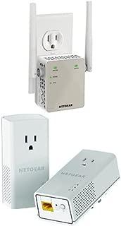 Netgear AC1200 WiFi Range Extender - Essentials Edition (EX6120-100NAS) & Netgear Powerline 1200 + Extra Outlet (PLP1200-100PAS) Bundle