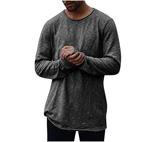 Luckycat Herren Langarmshirt Oversize Longshirt O-Neck Basic Herren Slim Fit Langarm Rundhals Shirt Longsleeve T-Shirt Sweatshirt
