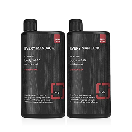 Every Man Jack Mens Nourishing Body Wash for All Skin Types - Cleanse, Nourish, and Soothe Your Skin with Naturally Derived Coconut and Glycerin Twin Pack (Crimson Oak)