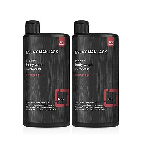 Every Man Jack Limited Edition Men's Body Wash Twin Pack - Crimson Oak   Naturally Derived, Dye-free, Gluten Free, 50% PCR Bottles   2 Bottles