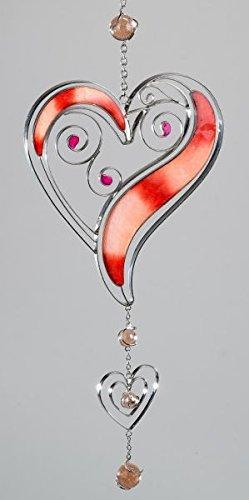 dekojohnson Fensterdeko Herz hängend Fensterhänger Dekohänger Glasbild Tiffany Rot/Silber Fensterschmuck Sommer 52cm