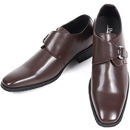 [カラダ快適研究所] シークレットシューズ メンズ 7cmアップ ビジネスシューズ 背が高くなる靴 メンズシューズ 紳士靴 身長アップ モンクストラップ kk5-110 ダークブラウン 24.0cm