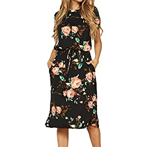 Women's Floral Casual Midi Dress with Pockets