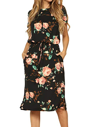 Womens Fashion Summer Short Sleeve Midi Floral Work Casual Dress Black M