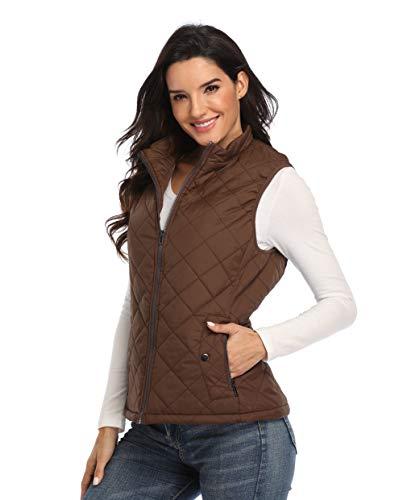 MISS MOLY Damen Weste Steppweste Outdoor Weste mit Stehkragen Reißverschluss Winter Warm Jacke