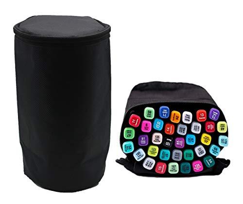 Sovenny Multifunction Cylinder Zippered Canvas Pen Bag Pencil Marker Case Stationary Storage Bottle Travel Cosmetic Bag
