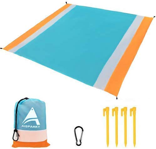 AISPARKY Beach Blanket Beach Mat Outdoor Picnic Blanket Large Sand Free Compact for 47 Persons Water Proof and Drying Beach Mat Nylon Pocket Picnic for Outdoor Travel 78quot X 81quot