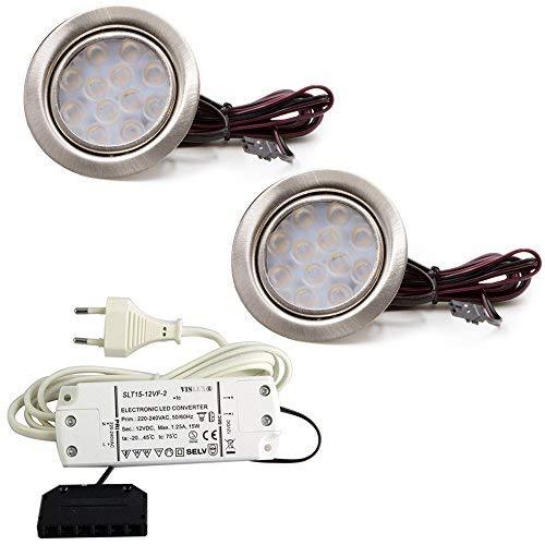 2er Set LED Einbauleuchte Möbelleuchte Einbaustrahler 3W HIGH LED SMD WARMWEISS