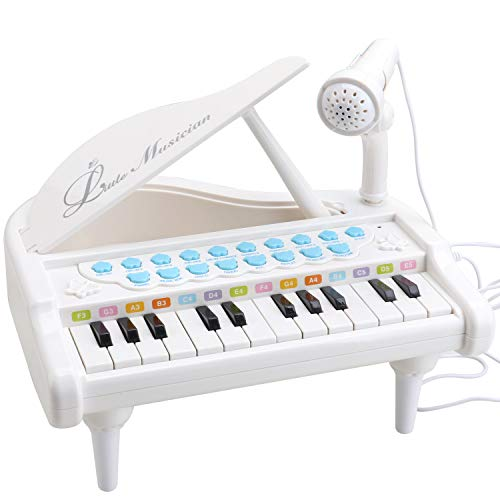 Amy&Benton Toy Piano for Baby & Toddler Piano Keyboard Toy for Girls Kids Birthday Gift Toys for 1 2 3 4 Years Old-- Multi-Functional, with Microphone, Portable, Mini, 24 Keys, White