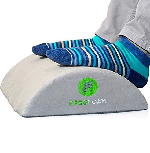 ErgoFoam Ergonomic apoio para os pés embaixo da mesa | apoio para os pés de espuma macia de veludo premium para mesa | Descanso de pés de mesa mais confortável no mundo para lombar, costas, dor no joelho | suporte para pés, Cinza, Regular