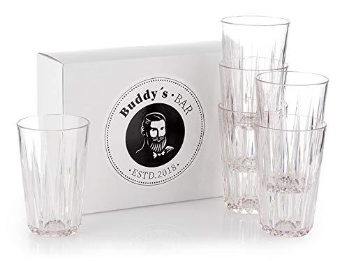 Buddy's Bar - 6er Set, Hochwertige 0,3 Liter Tritan Kunststoff Trinkgläser, BPA frei, Kristallglas-Optik, bruchfeste Mehrweg-Gläser, wiederverwendbar und spülmaschinenfest, 300 ml
