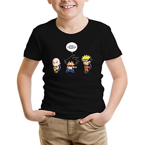 T-Shirt Enfant Noir Naruto - Dragon Ball parodique Sangoku et Naruto : Tortue Ninja !? (Parodie Naruto - Dragon Ball)