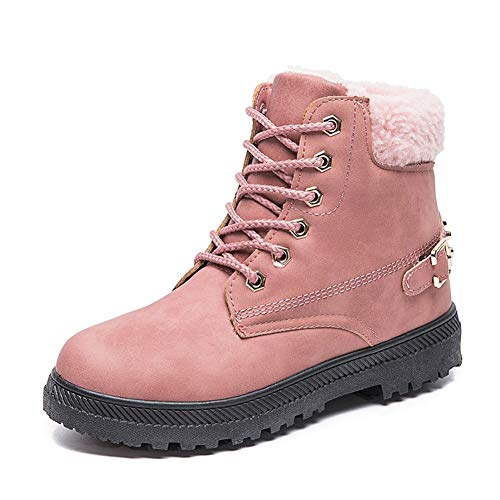 Women's Winter Snow Boots Lace Up Leather Low Heel Work Combat Ankle Bootie Round Toe Waterproof Anti-Slip Hiking Trekking Walking Shoes Pink