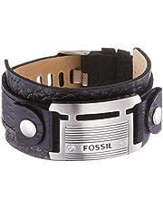 Fossil Homme Bracelet manchette en cuir noir JF84816040