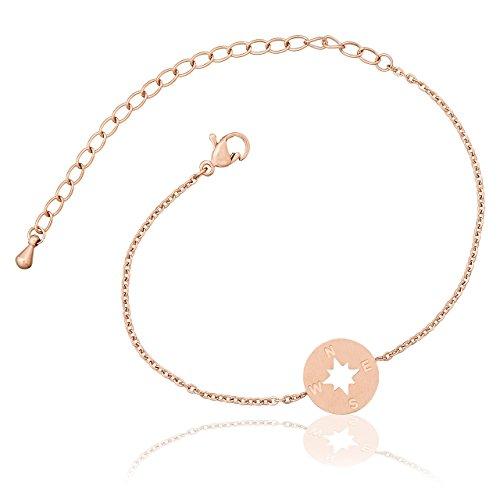 Selia Kompass Armband Windrose Armreif Navi minimalistische Optik brushed gebürstete Optik handgemacht (Rosegold)