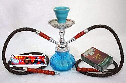 Klein Himmelblau Huka 2 Schlauch Wasserpfeife für Shisha Smoking Pipe mit 1 Rolle Soex Holzkohle Kohle und 1 Schachtel Soex Doppelapfel 50 gr Kräuter Shisha - kein Tabak kein Nikotin