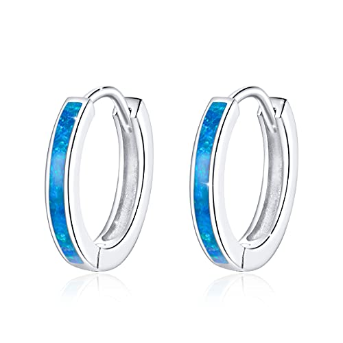 GOXO Pendientes de aro de plata de ley con ópalo para mujer (azul)