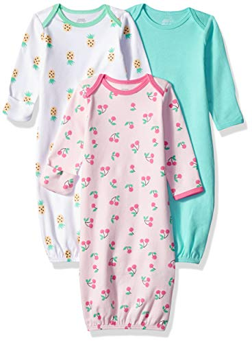 Amazon Essentials Baby 3-Pack Sleeper Gown, Girl Fruit, 0-6M