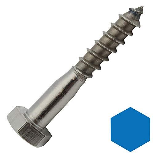 D2D | VPE: 20 Stück - Sechskant-Holzschrauben - 8 x 80 mm - DIN 571 aus Edelstahl A2 VA