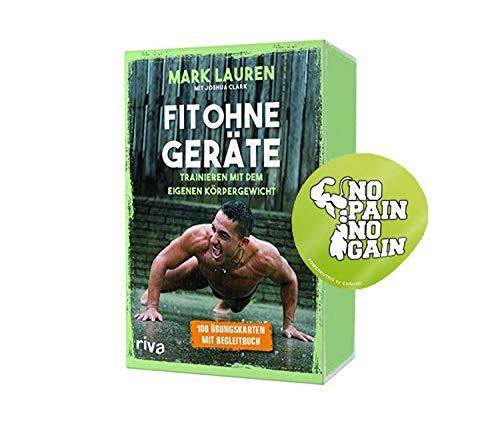 YellowMedia Fit ohne Geräte – Kartenset: Trainieren mit dem eigenen Körpergewicht 100 Übungskarten mit Begleitbuch + NO Pain NO GAIN Sticker