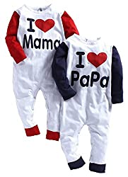 LSBaby I love mama/papa Red & Navy Romper (Pack of 2) (6-12 Months)