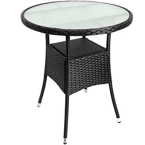 Deuba Poly Rattan Beistelltisch Schwarz Ø 60 x 74cm Milchglas Tisch Rund Gartentisch Balkontisch Garten Möbel