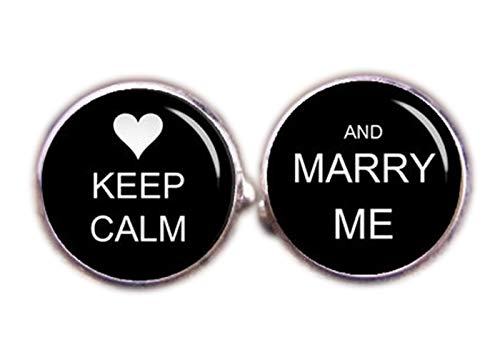 chen jian xin Manschettenknöpfe, Aufschrift Keep Calm and Marry Me