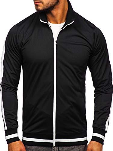 BOLF Herren Sweatshirt Stehkragen Reißverschluss Zip Täglicher Stil 2126 Schwarz L [1A1]