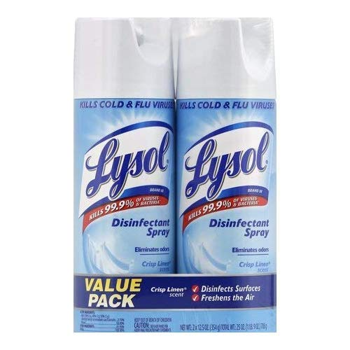 Lysol Disinfectant Spray, Crisp Linen, 25oz (2X12.5oz) (2-Pack (12.5oz))