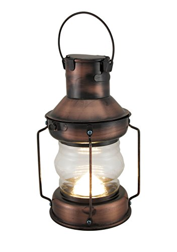 Zeckos Metal & Glass Decorative Candle Lanterns Rustic Battery Operated Antique Copper Finish Metal Lantern 5 X 11 X 5 Inches Copper