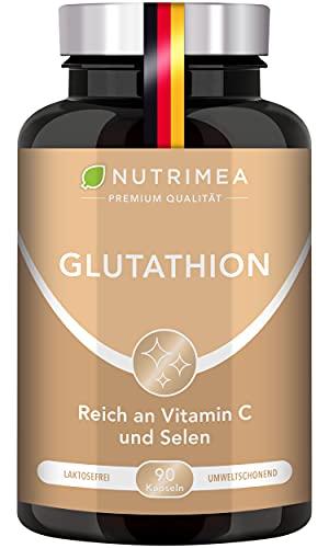 L-GLUTATHION reduziert zu 98{0b190c2b450a0b2f757aa6ca3be68fd1c679601e9bcda534487196c7bd831c32} | mit Vorläufern + Vitamin C | Tripeptid: Glutaminsäure, Cystein, Glycin | 90 Kapseln MAGENSAFTRESISTENT Hochdosiert