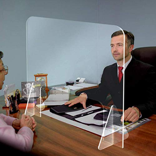 Desktop Plexiglass Sneeze Guard 24'W x 32'H - Countertop Germ Barrier Acrylic Safety Face Shields