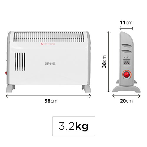 Duronic HV120 Radiateur soufflant électrique avec Fonction Turbo – Convecteur avec Ventilateur Turbo (750W, 1250W ou 2000W)