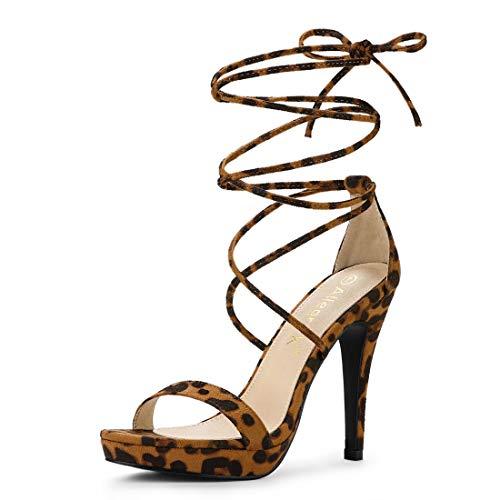 Allegra K Women's Platform Stiletto Heels Leopard Lace Up Sandals - 7.5 M US