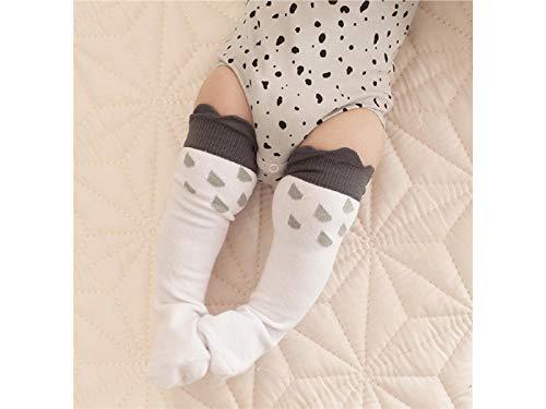 Cadeau bébé Chaussettes de coton doux enfants Kid Automne et Hiver Raindrop Patterns Mid Tube Chaussettes (Blanc)